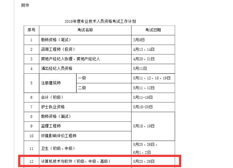 【软考考试时间发布】2019年上半年5月25日-26日,下半年11月9日-10日